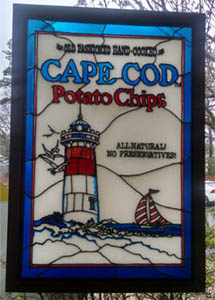 Stained glass window as one enters the Cape Cod Potato Chip factory